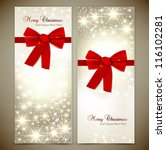 greeting cards with red bows... | Shutterstock .eps vector #116102281