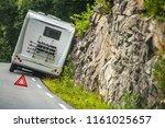 rv camper van accident on the... | Shutterstock . vector #1161025657