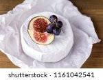 cheese brie camembert with figs ... | Shutterstock . vector #1161042541