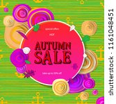 autumn sale flyer template with ... | Shutterstock . vector #1161048451