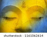 closeup buddha image face with...   Shutterstock . vector #1161062614