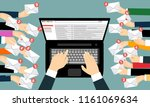laptop with email and many... | Shutterstock .eps vector #1161069634