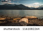 solitary boat wood destroyed... | Shutterstock . vector #1161082264