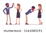 man to woman friendly greeting. ... | Shutterstock .eps vector #1161083191