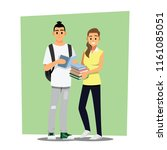 happy group of teen university... | Shutterstock .eps vector #1161085051