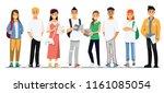 happy group of teen university... | Shutterstock .eps vector #1161085054