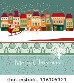 christmas card with cute little ... | Shutterstock .eps vector #116109121