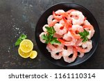 prawns on plate. shrimps ... | Shutterstock . vector #1161110314