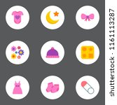 set of baby icons flat style... | Shutterstock . vector #1161113287