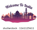 india top famous landmark...   Shutterstock .eps vector #1161125611