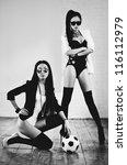 Young slim japanese women fashion. Black and white. - stock photo