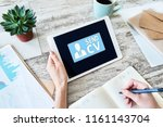 send cv button on screen ... | Shutterstock . vector #1161143704