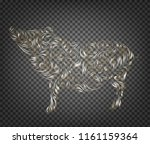 pig decoration   symbol of 2019 ... | Shutterstock .eps vector #1161159364