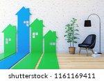 3d house shaped arrow bar graph ... | Shutterstock . vector #1161169411