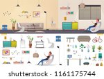 living room and office interior.... | Shutterstock .eps vector #1161175744