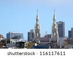 Skyline of San Francisco with a church top. - stock photo