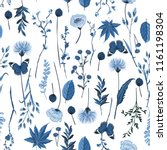 Stylish Monotone Blue Botanical ...
