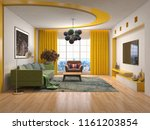 interior of the living room. 3d ... | Shutterstock . vector #1161203854