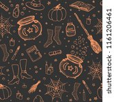 vector halloween pattern with... | Shutterstock .eps vector #1161206461