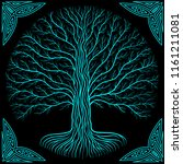 druidic yggdrasil tree at night ... | Shutterstock .eps vector #1161211081