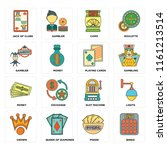 set of 16 icons such as bingo ...