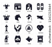 set of 16 icons such as food ...