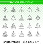 christmas tree thin line icons... | Shutterstock .eps vector #1161217474