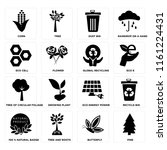 set of 16 icons such as pine ...