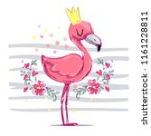 hand drawn cute flamingo... | Shutterstock .eps vector #1161228811