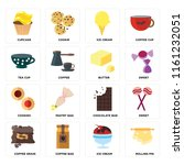 set of 16 icons such as rolling ...