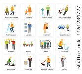 set of 16 icons such as waiter  ...