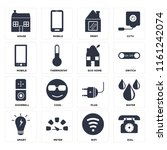 set of 16 icons such as dial ...