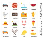 set of 16 icons such as sun... | Shutterstock .eps vector #1161243934