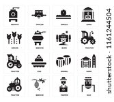 set of 16 icons such as silo ...