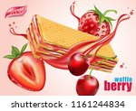 wafer strawberry and cherry... | Shutterstock .eps vector #1161244834