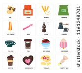 set of 16 icons such as pastry...