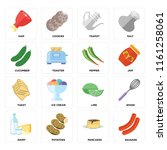 set of 16 icons such as sausage ...