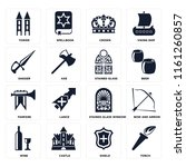 set of 16 icons such as torch ...