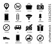 set of 16 icons such as no fire ...