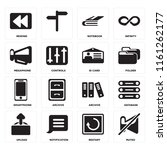 set of 16 icons such as muted ...