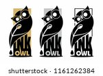 Stock vector owl with glasses and ink feather pen 1161262384