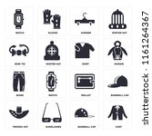 set of 16 icons such as coat ...