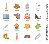 set of 16 icons such as nail...