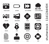 set of 16 icons such as skip ...