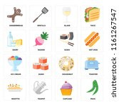 set of 16 icons such as peas ...