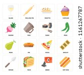 set of 16 icons such as hot dog ... | Shutterstock .eps vector #1161267787