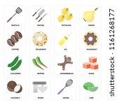 set of 16 icons such as lime ...