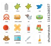 set of 16 icons such as broom ...