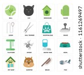 set of 16 icons such as fish ...