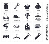 set of 16 icons such as tie ...